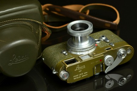 Leica M3 Olive Camera Original Early Single Stroke Set with 50mm f/3.5